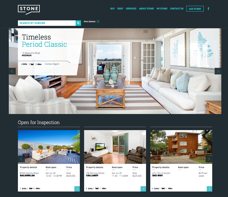 Tim's website is a great user experience. The monotone theme using a contrasting aqua highlight picks up the Ocean theme of this Northern Beaches success story. Check it out at StoneRealEstate.com.au