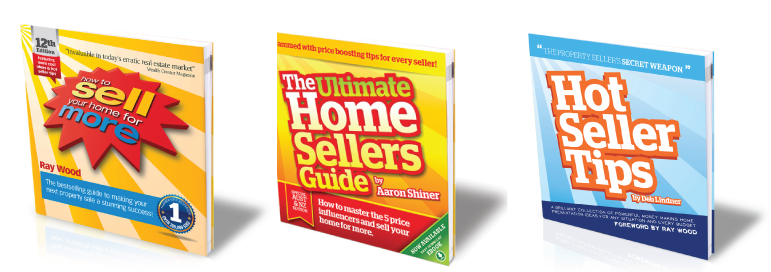 3 proven lead generators now used by hundreds of agents to win new business: From left, How To Sell Your Home Fore More (16 editions and more than 200,000 sales) The Ultimate Home Sellers Guide which I have ghost written for agents to become a published author and Hot Seller Tips. Advanced home presentation ideas written by my friend and amazing home stylist, Deb Lindner.