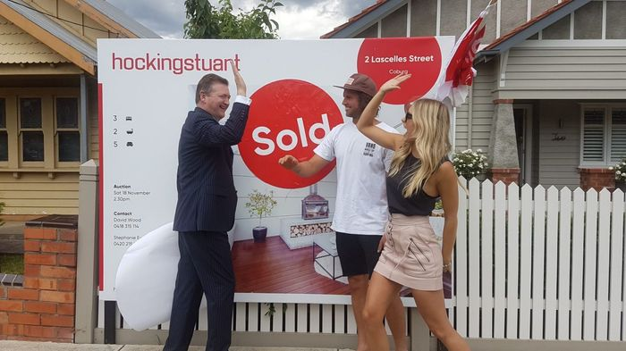 Celebrating after the sale of their own home at 2 Lascelles Street Coburg Victoria with Hocking Stuart's David Wood (my favourite auctioneer)