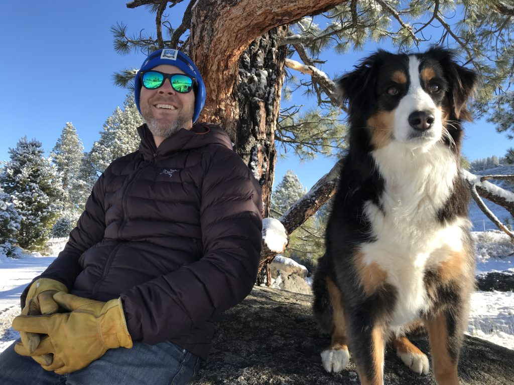 Craig Rowe with his faithful Aussie Shepherd, Ranger