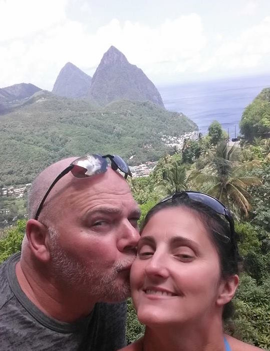 A quick selfie with Christine and the magnificent Pitons in the background