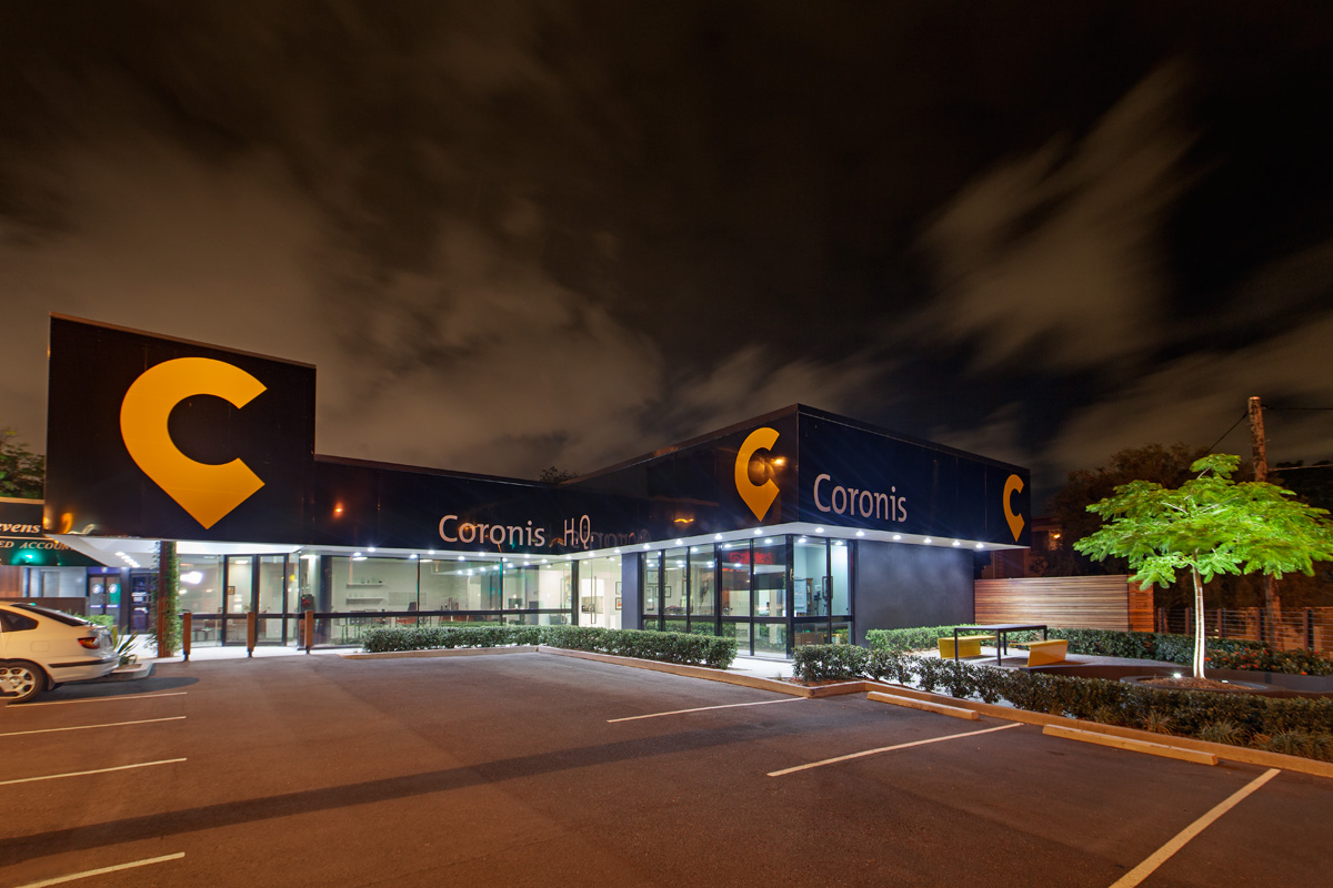 Great twilight shot of the Coronis Lutwyche office. All Coronis offices are 100% company owned.