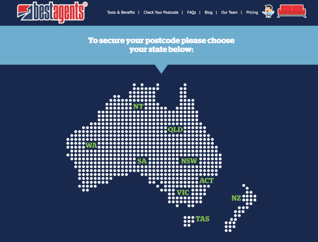 Click this graphic and select your state to check postcode availability